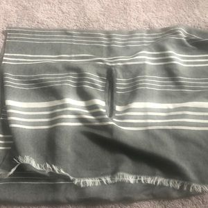 Grey and white striped JCrew wearable scarf